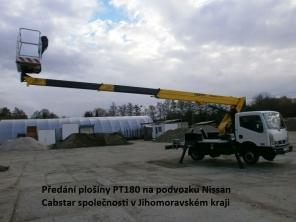 plošina PT180 na Podvozku Nissan Cabstar
